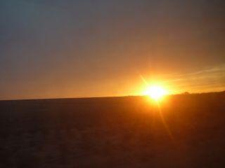 国際列車から見た内モンゴルの夕陽
